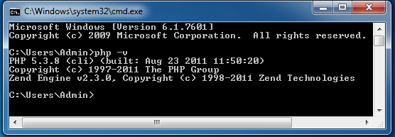 Command prompt php version