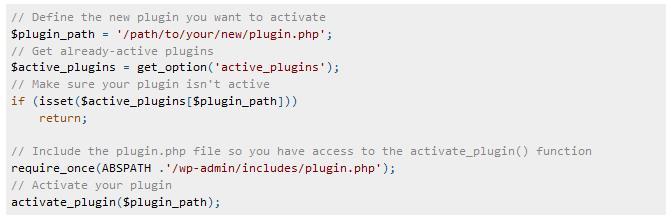 Activate Plugins via Code