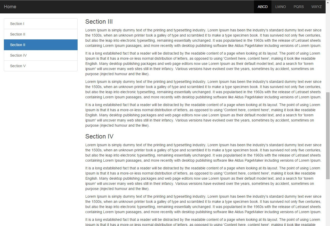 Bootstrap 3 sidebar nav fixed responsive affix full example responsive affix in sidebar nav baditri Image collections