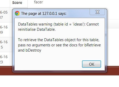 Cannot reinitialize jQuery DataTable
