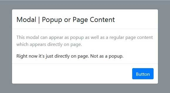 Modal as Popup or Direct as Page Content in Bootstrap