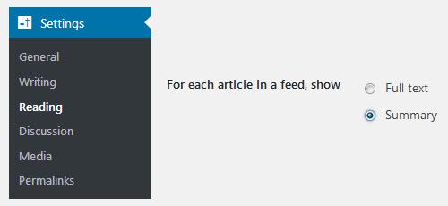Display excerpts summaries feed