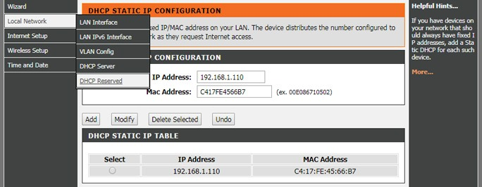 Server static IP from Router