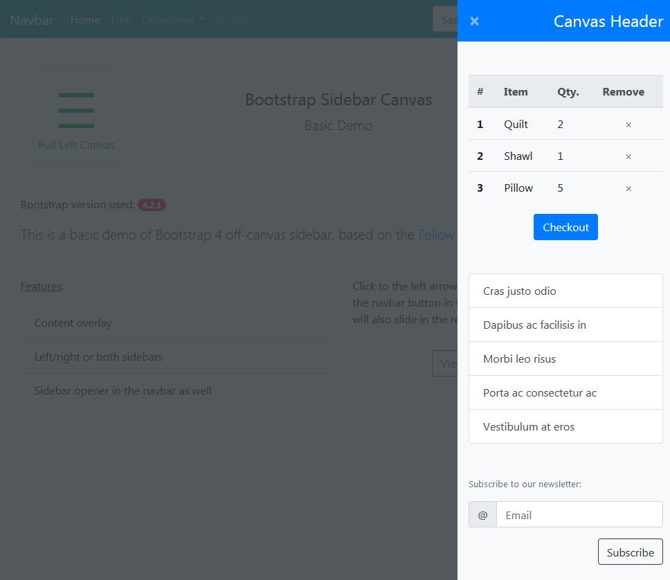 Off-canvas Sidebar and Menu - Bootstrap