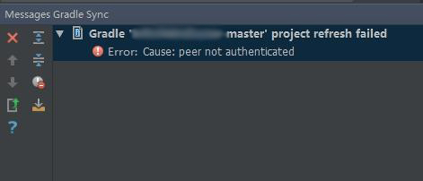 Peer Not Authenticated | Gradle Project Refresh Failed