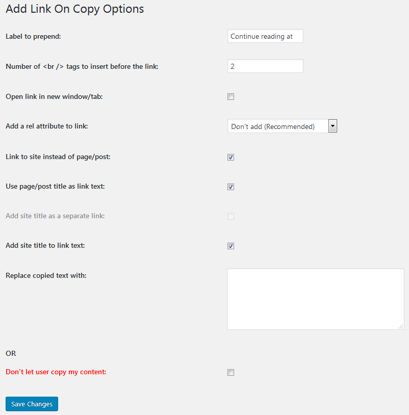 Add a Link Back to Your Site Rather Content Copy Protection