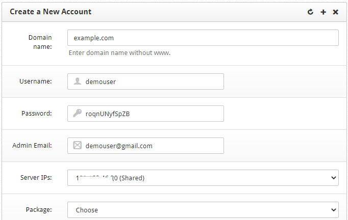 CONTROL Web Panel Create User Account