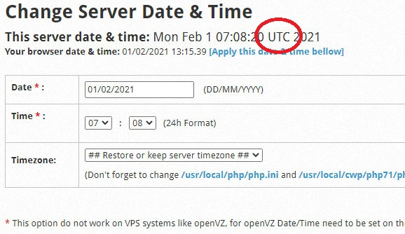 CWP Server Date Time Settings