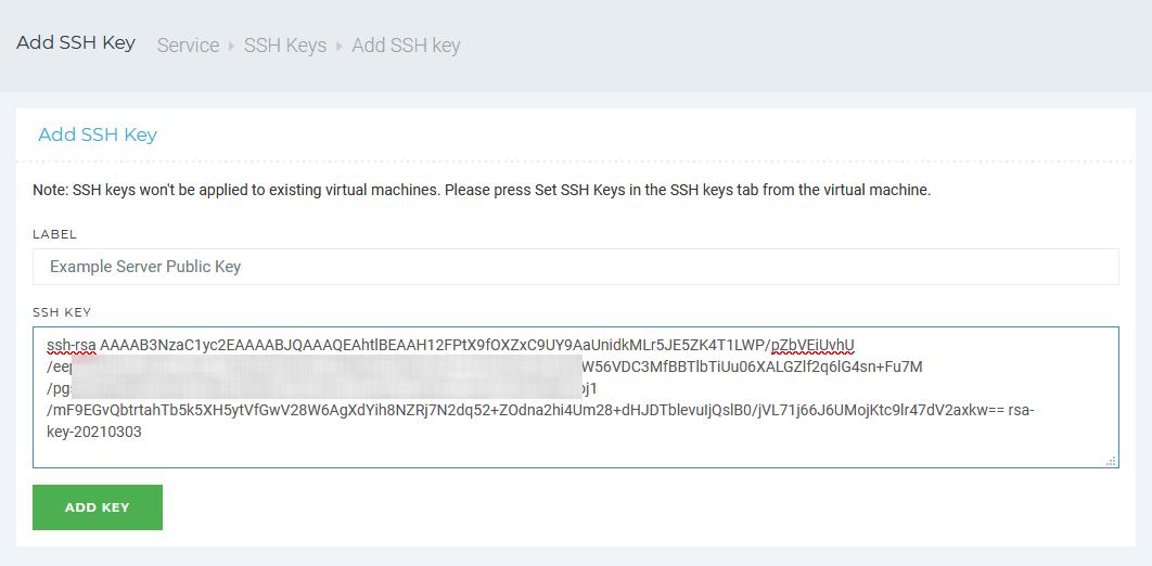 Add Public SSH Key to Server