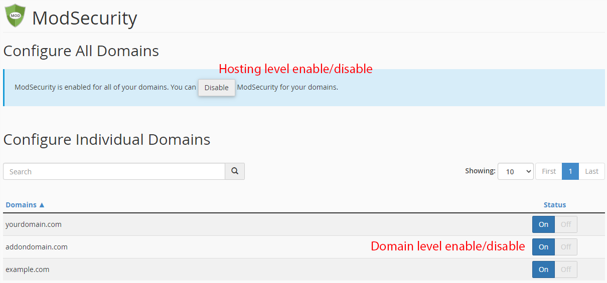 Enable Disable ModSecurity in cPanel