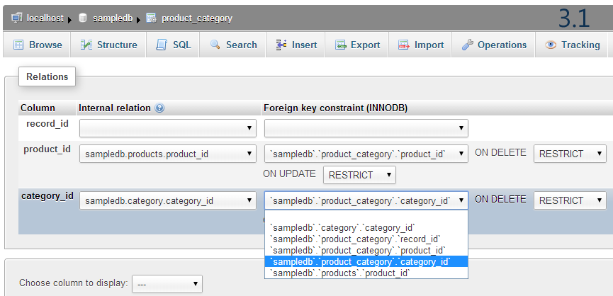 foreign key in phpMyAdmin